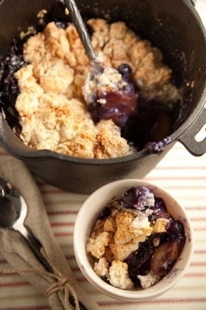 Cobbler: like pie, but without the crust fuss. Check out the recipe, and how to convert it to a campfire-friendly recipe.