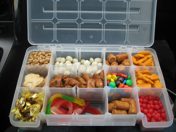Keep small snacks in a tackle box.