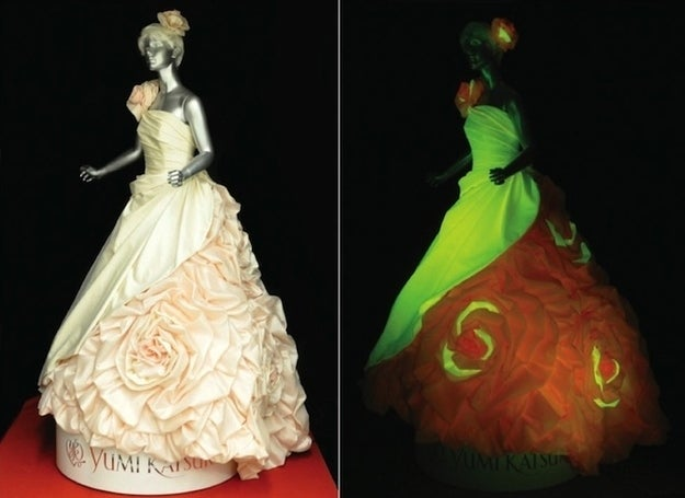 Japanese scientists have genetically altered silkworms to produce fluorescent silk in three colors. For orange and red, the worms borrowed DNA from corals, while the green glow came courtesy of the jellyfish. Yumi Katsura turned these unique threads into wedding dresses that pop under UV light. The next step? Figuring out how to engineer silk that glows without the aid of black lights.