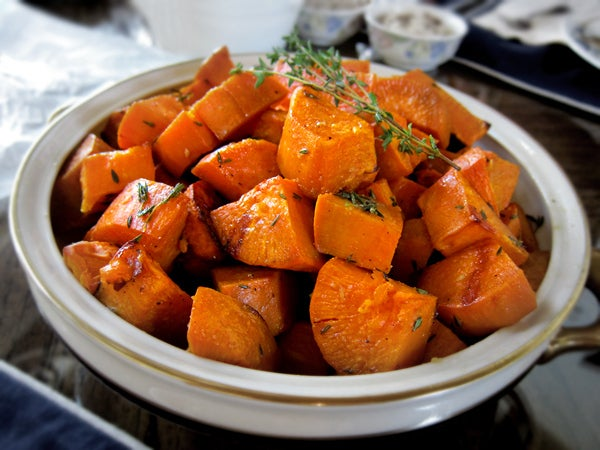 Along with a healthy dose of carbs, sweet potatoes contain a variety of vitamins and nutrients, particularly vitamins B6, C, D, magnesium, and potassium.Get a recipe for garlic-and-thyme-roasted sweet potatoes here.