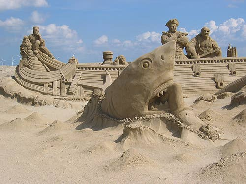 Sand Shark Arising From The Sandy Deep To Attack A Boat