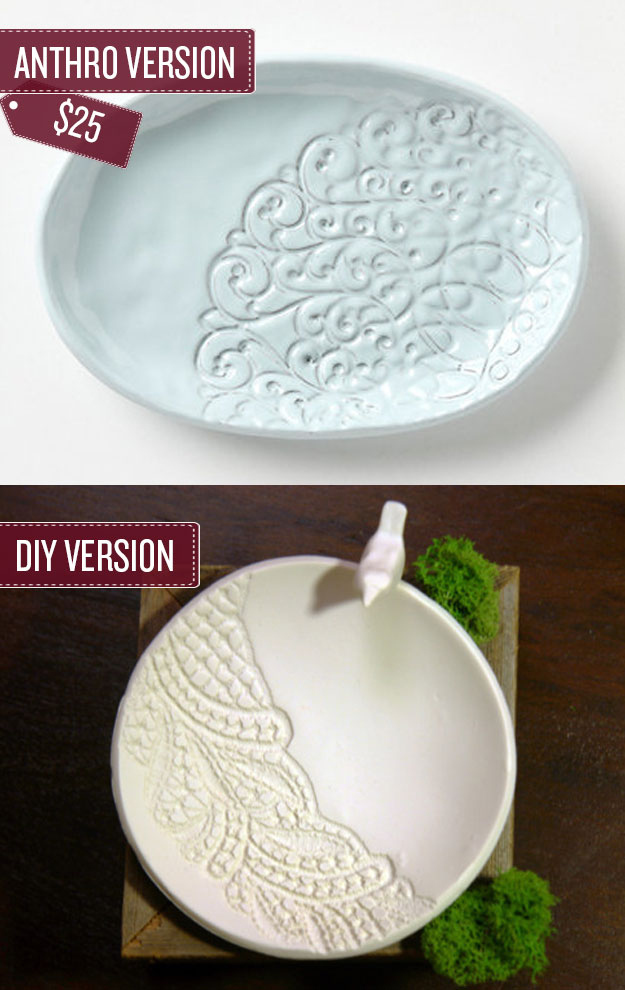 Create a lace embossed dish.