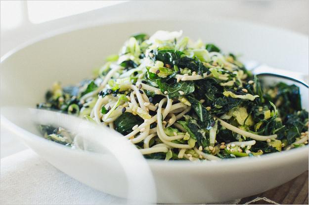 Kale and Slivered Brussels Sprout Soba Noodles