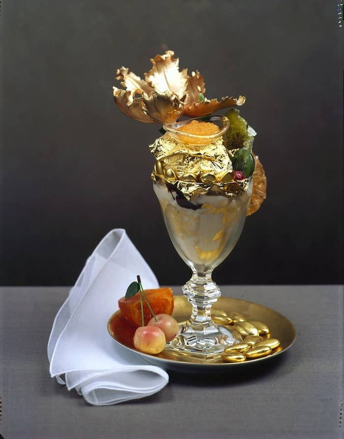Are you ready for the world's most expensive ice cream? This $1,000 sundae features vanilla ice cream made from Tahitian vanilla beans and covered in edible gold leafs. Add Italian chocolate drizzle, truffles, gold dragets, marzipan cherries, and grand passion caviar. Finally, serve the whole thing in a crystal goblet with an 18k gold spoon.