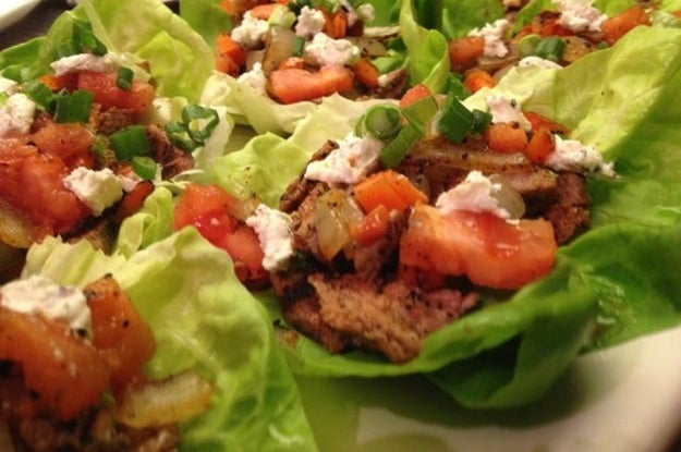 Grilled Steak Tacos in Butter Lettuce Cups. A dish you can really wrap your tongue around. Hot Sauce optional.