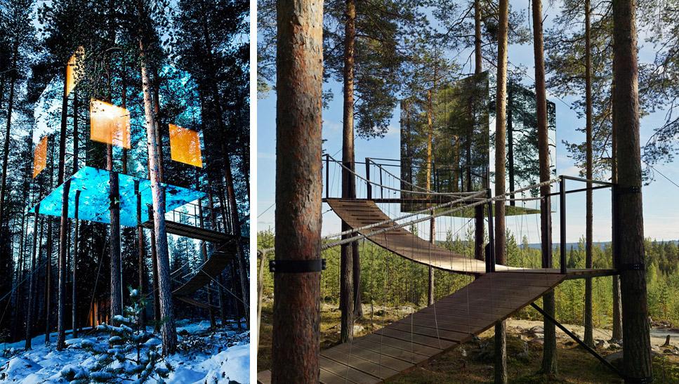 """La casa del árbol """"Mirror Cube"""", en Suecia"""