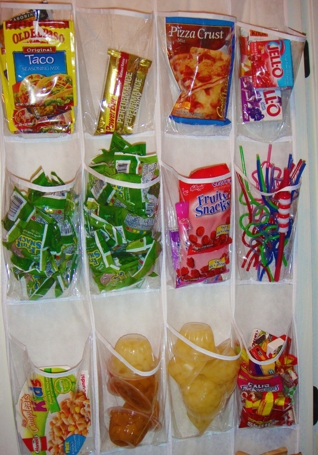 Store Snacks In An Over The Door Shoe Organizer. Part 88