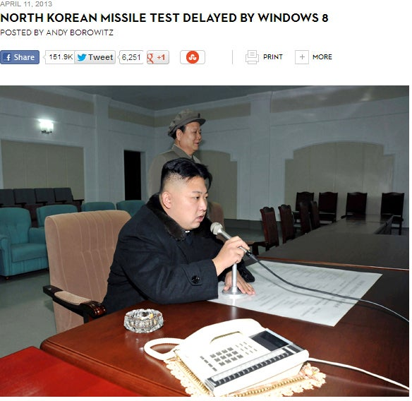 Another Borowitz Report article found the Guangzhou-based 21st Century Business Herald falling for an article claiming the switch from Windows 95 to Windows 8 had foiled a recent missile test.