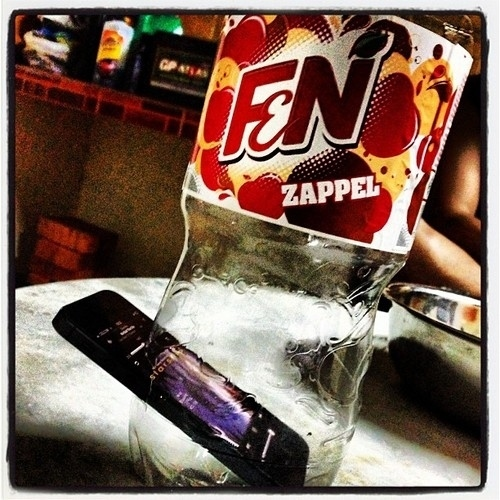 For impromptu dance parties, fit an iPhone into an empty plastic soda bottle.