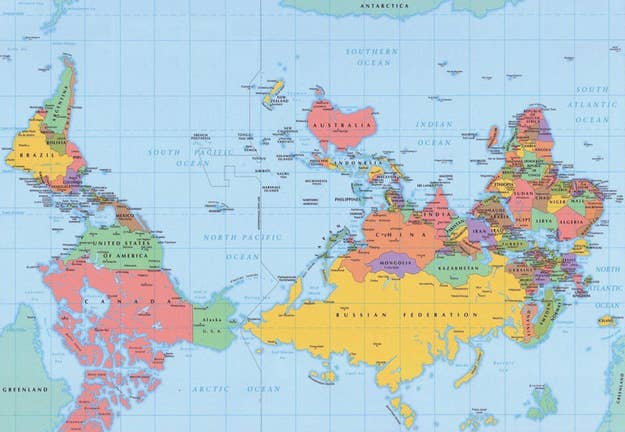 and the standard world map flipped upside down