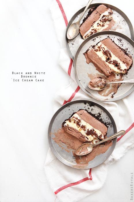 Black and White Brownies Ice Cream Cake