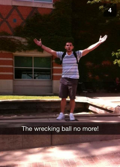 """A University Got Rid Of A Giant Pendulum After Guys Were Riding It Like Miley Cyrus In """"Wrecking Ball"""""""