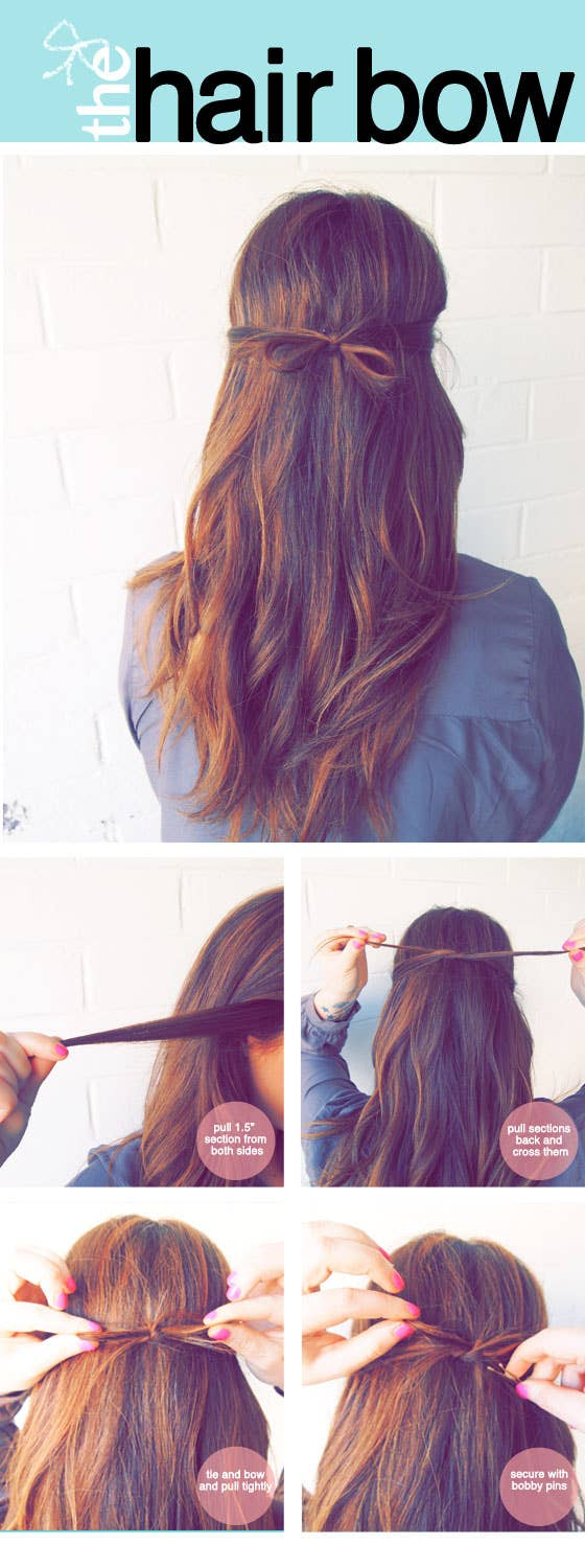 23 five minute hairstyles for busy mornings the tidy hair bow solutioingenieria Image collections