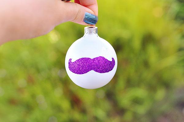 A glittery mustache perks up any tree.