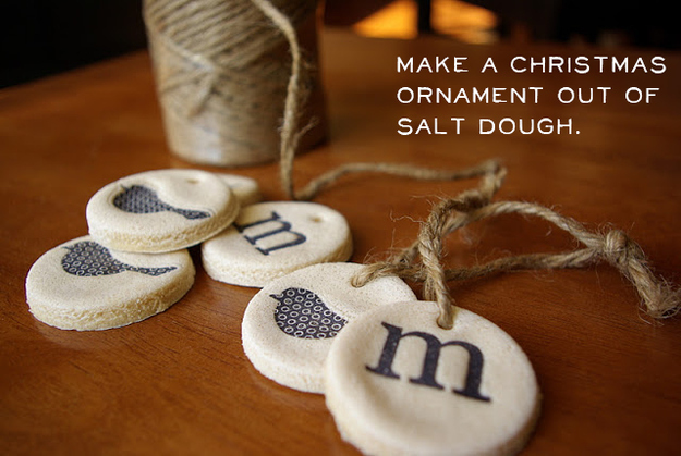 Stamp salt dough for these cute ornaments.