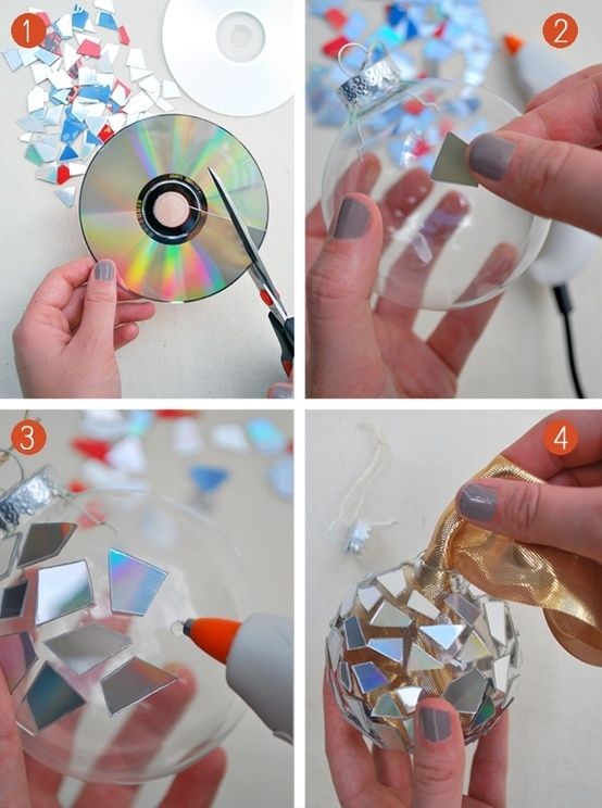 Make an ornament from old CDs.