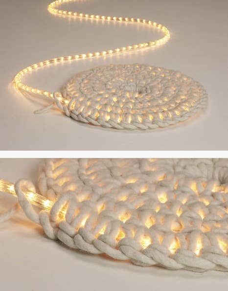 Crochet around a rope light to create a light up rug