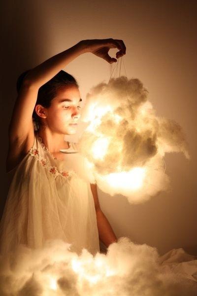 Cotton batting can make a cloud light.