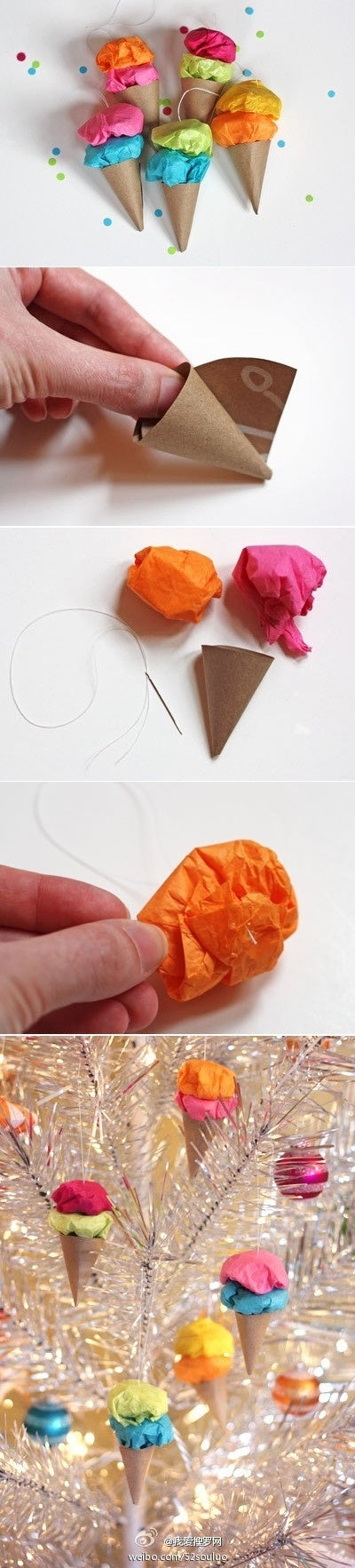 Tie onto a tree or use in a garland.