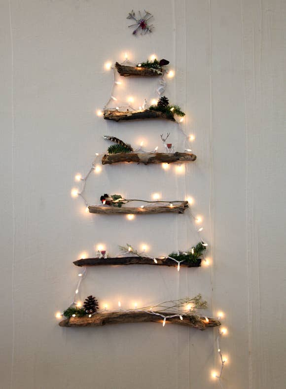 46 awesome string light diys for any occasion incorporate the lights into a twig christmas tree solutioingenieria Gallery