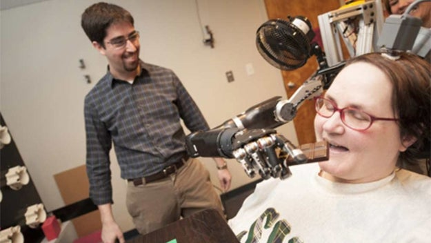 At the University of Pittsburgh, the neurobiology department worked with 52-year-old Jan Scheuermann over the course of 13 weeks to create a robotic arm controlled only by the power of Scheuermann's mind. The team implanted her with two 96-channel intracortical microelectrodes. Placed in the motor cortex, which controls all limb movement, the integration process was faster than anyone expected. On the second day, Jan could use her new arm with a 3-D workspace. By the end of the 13 weeks, she was capable of performing complex tasks with seven-dimensional movement, just like a biological arm. To date, there have been no negative side effects.