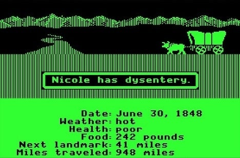 The game that introduced a brand new generation to the dangers of dysentery was nigh impossible to beat. Try to ford the river? Dead. Increase the pace of travel? You break a leg. Dead. Travel during the hot, sweltery summer months? Dysentery. Dead. You get the point.