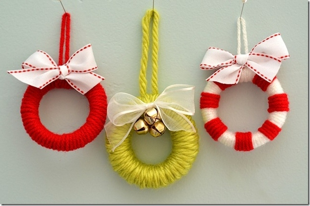 Make mini wreaths out of shower curtain pulls