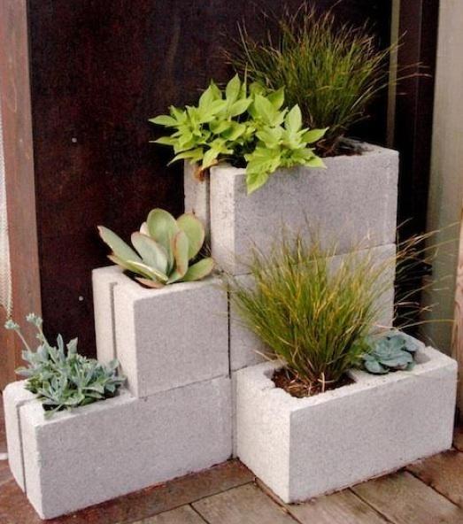 Cement Block Planters