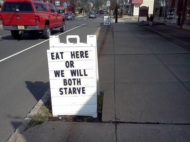 eat here or we will both starve