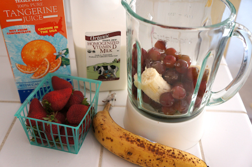 The night before, put all your smoothie ingredients into the blender and store in the fridge.