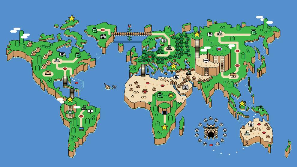 Una imagen de Super Mario Bros. en un mapamundi: