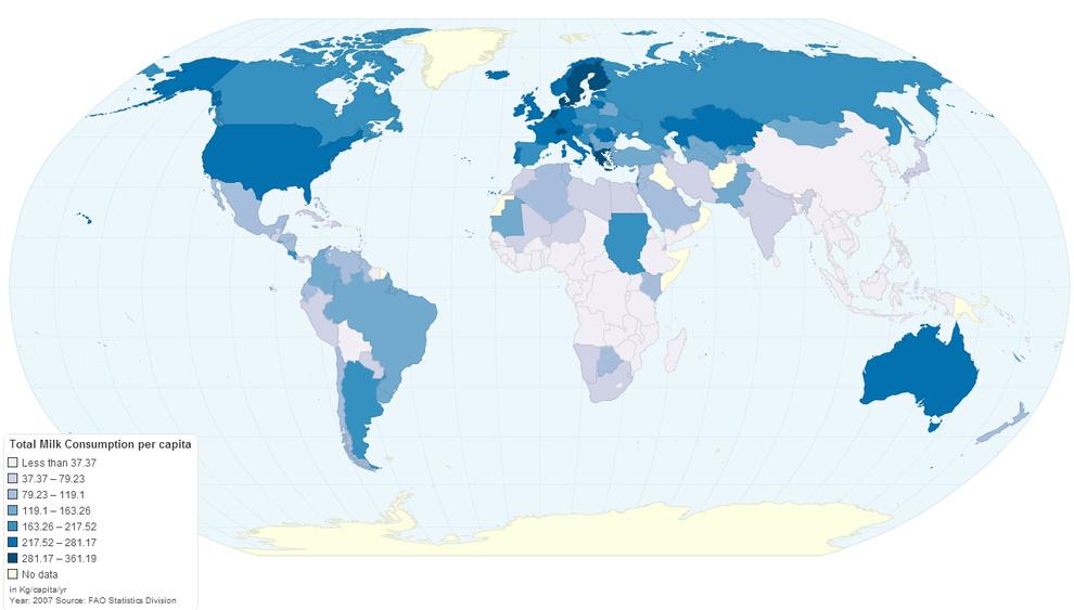 Un mapa de los países que consumen más leche: