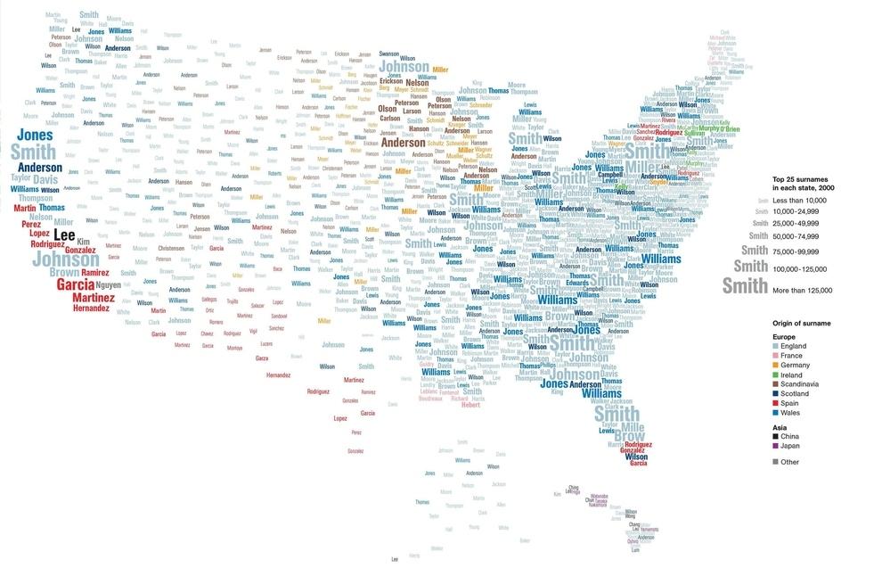 Un mapa de los apellidos más difundidos en Estados Unidos: