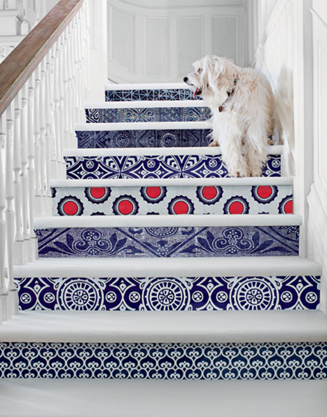 Paste Wallpaper To The Riser Of Each Stair   Switching Up Patterns Makes It  Extra