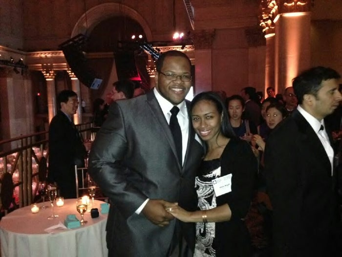 Israel Burns proposed to his girlfriend, Misha Wright, in New York City Wednesday evening after some surprise help from Newark mayor Cory Booker.