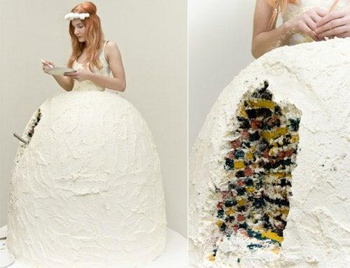 Tarta de vestido de novia
