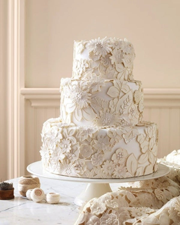 tarta de bodas con encajes