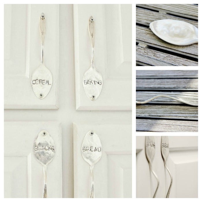 Flatten the top of a spoon, and bend the stem into a handle shape, then drill to kitchen cabinets. If you like, stamp the spoon heads to help keep contents organized. Check out this tutorial.