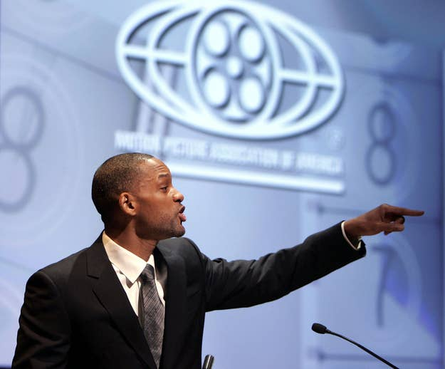 Actor Will Smith speaks at the start of a Motion Picture Association of America's (MPAA) symposium, The Business of Show Business. The event is designed to educate and inform policymakers about the contributions the American motion picture business brings to the U.S. economy — and get them on board with anti-piracy efforts.