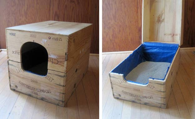 Recycled Wine Case Litter Box. Found at Apartment Therapy.