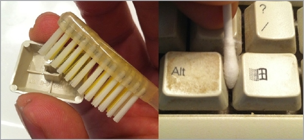 Get all the grossness out of your keyboard with a toothbrush and cotton swabs.