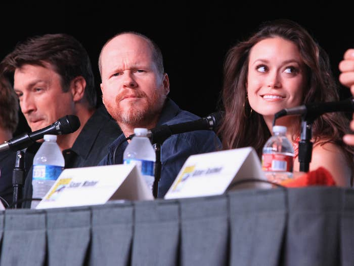 Actors Nathan Fillion, writer/director Joss Whedon, and Summer Glau at the Firefly 10 Year Anniversary Reunion during San Diego Comic-Con on July 13, 2012.