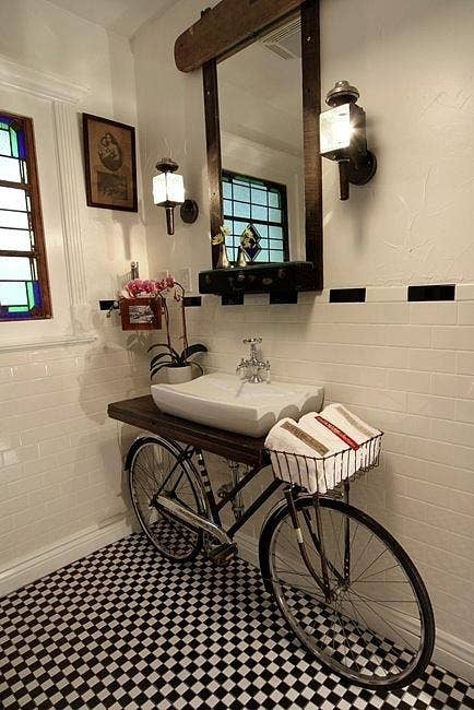 Upcycle An Old Bicycle Into A Bathroom Sink