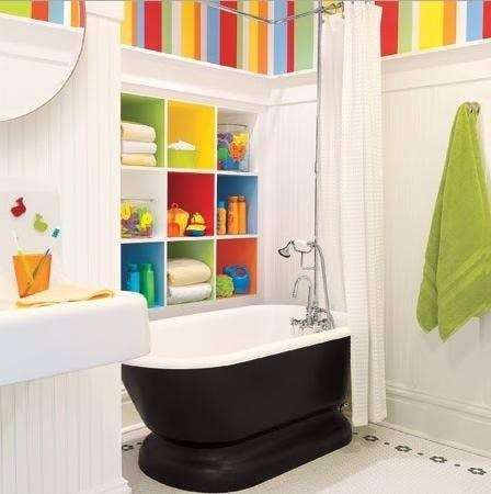 Paint The Insides Of Cubby Holes Bright Colors For A Kids Bathroom