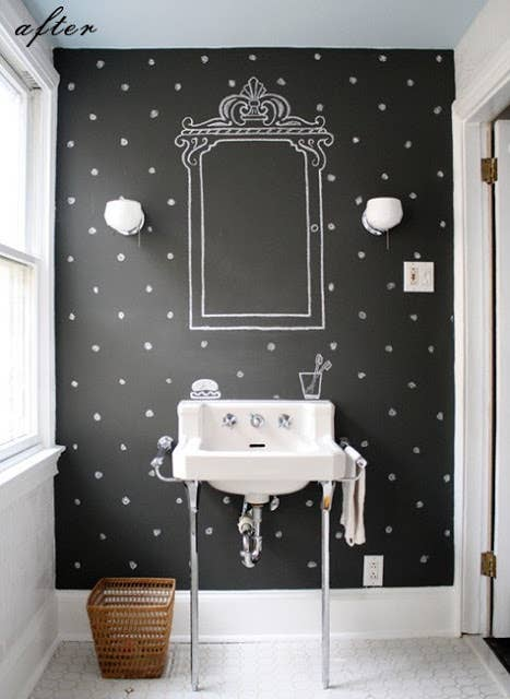 2 paint an entire wall with chalkboard paint