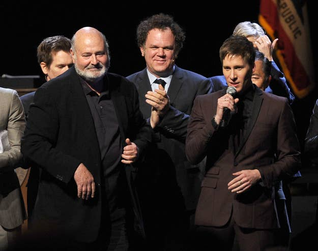 Director Rob Reiner, actor John C. Reilly, and writer Dustin Lance Black onstage during the one-night reading of Black's play 8 on March 3, 2012, in Los Angeles.
