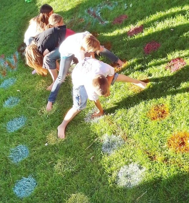 Spray-paint a lawn Twister game.