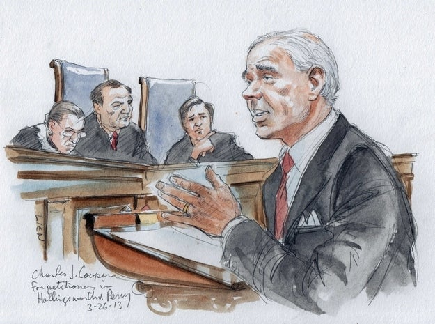 Attorney Charles Cooper argues for supporting California's Proposition 8 in the U.S. Supreme Court in Washington, March 26, 2013.