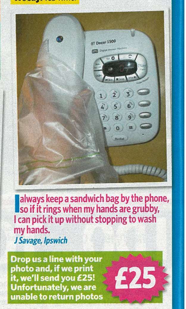 Plastic bags mean you'll never have to wash your hands again!