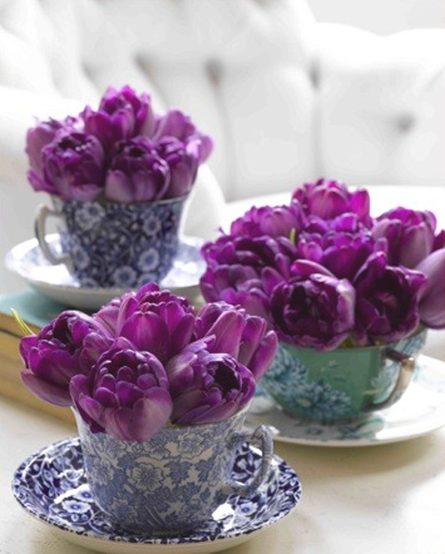 Refashion thrift-store teacups to hold flowers, candy, or dessert.